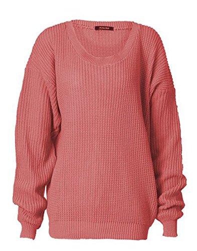 Zara Fashion-Women Oversized chunky jersey de punto de punto Baggy Dusty Pink