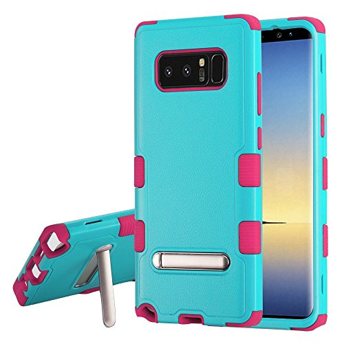 MyBat Samsung-Galaxy Note 8 Natural Teal Green/Electric Pink TUFF Hybrid Protector Cover (with Magnetic Metal Stand)