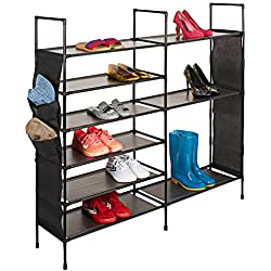Basics Hardware Shoe Rack, 6-Tier Steel Storage Organizer Free Standing Shoe Rack, Shoe Shelf Storage Organizer Shoe Rack Swivel, Adjustable Shoe Tree