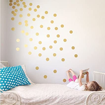 Vinyl Polka Dot Removable Wall Decals (Gold, 3u0026quot;)