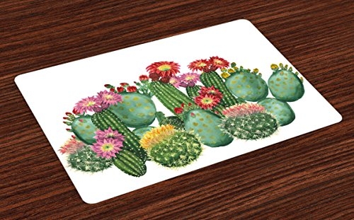 Ambesonne Cactus Place Mats Set of 4, Saguaro Barrel Hedge Hog Prickly Pear Opuntia Tropical Botany Garden Plants Print, Washable Fabric Placemats for Dining Room Kitchen Table Decor, Multicolor