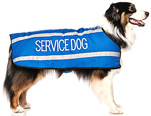 SERVICE DOG Blue Warm Dog Coats S-M M-L L-XL Waterproof Reflective Fleece Lined (Do Not Disturb) Prevents Accidents By Warning Others of Your Dog in Advance (L-XL Back 23