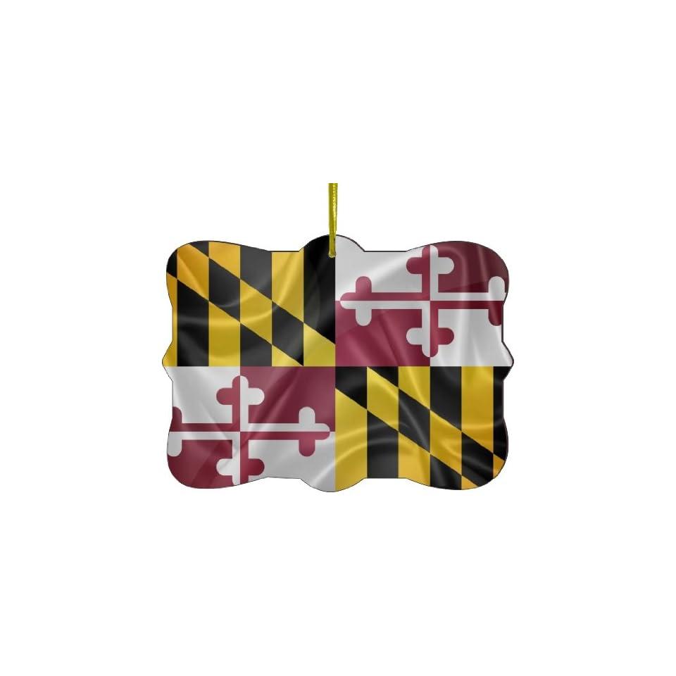 Rikki Knight RKWS SQORN 2693 Christmas Tree Ornament / Car Rear View Mirror Hanger Maryland State Flag Design