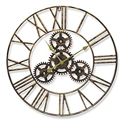 YIDIE 30 inch Pure Metal Large Wall Clock Silent Non-Ticking Roman Numerals Round Decorative Clock for Farmhouse/Living Room