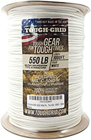 TOUGH-GRID 550lb Paracord/Parachute Cord - 100% Nylon Mil-Spec Type III Paracord Used by The US Military, Grea