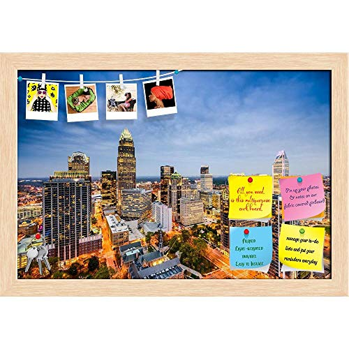 ArtzFolio Charlotte, North Carolina, USA Uptown City Skyline Printed Bulletin Board Notice Pin Board Cum Natural Brown Framed Painting 17.5 x 12inch -