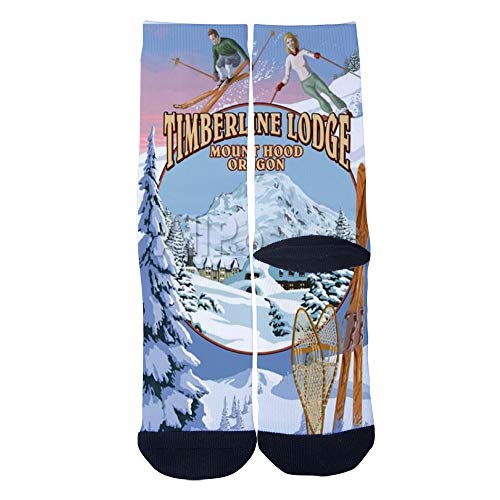 (Men's Women's Custom Crew Socks Oregon Mt Hood Timberline Lodge Poster Socks Colorful Patterned Comfortable Socks Black)