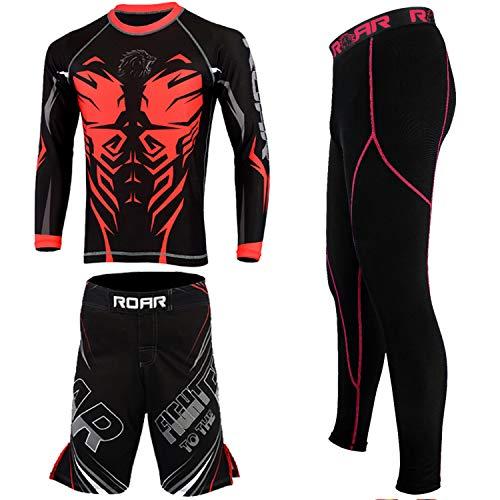 (ROAR MMA Rash Guard & BJJ Shorts Set Mens Women Fight Wear Kids Grappling Training (Terminator-3Pcs-Set, Small))