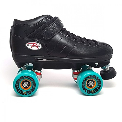 Black Riedell R3 Outdoor Speed Skates - Teal Energy Wheels - Abec 5 Bearings - With Free Devaskation Drawstring Bag - Size 13 by Riedell