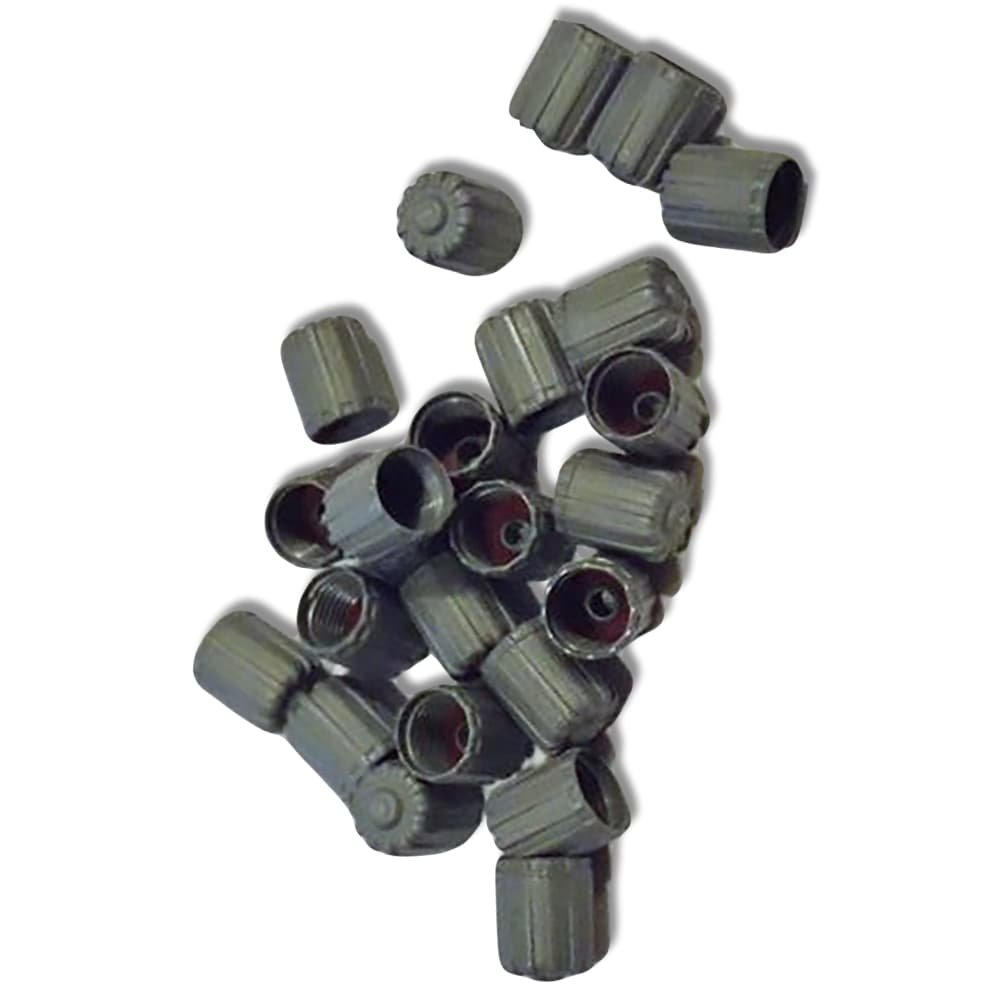 """(100 Count) """"Classic Simple with Easy Grip Texture"""" Valve Stem Dust Cap Seal Made of Hardened Rubber {Deep Ford Gray Color - Hard Plastic Internal Threads for Easy Application - Rust Proof}"""