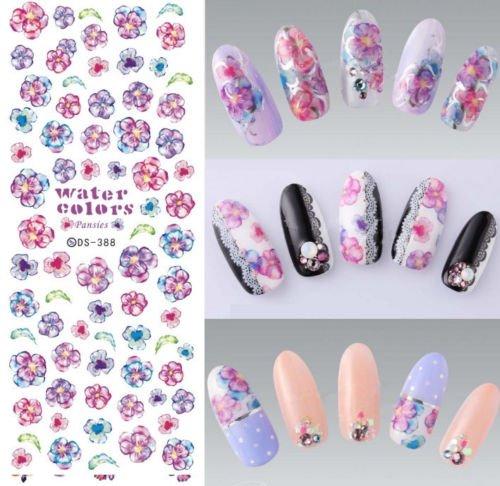 Gozebra(TM) Pansies Flower Water Transfer Nail Art Sticker Decals Gel Polish 125cm #388