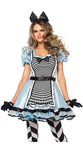 Leg Avenue Women's Hypnotic Alice in Wonderland Halloween Costume, Blue/Black Medium ()