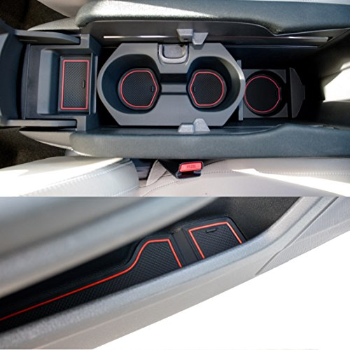 Custom Fit Cup, Door and Center Console Liner Accessories for Honda Civic 2019 2018 2017 2016 15-pc Set (Front Seat, Red Trim)
