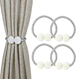 Iagoryue Magnetic Curtain Tie Back 4 Pack, Small Pearl Curtain Buckle Clips Rope Holdbacks, For Home, Office, Hotel Window Decoration,Pretty and Fashion-(Silver Grey)