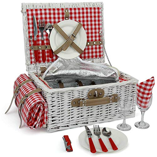 INNO STAGE Romantic Wicker Picnic Basket for 2 Persons, Special White Washed Willow Hamper Set with Big Insulated Cooler Compartment, Picnic Blanket and Cutlery Service Kit for Thanksgiving Day (For Two Basket Picnic Sets)