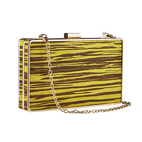 Handbags Party Vintage Yellow Clutches For Womens GGBAZZARA Wood grain Purse Oqnx6UxF7w