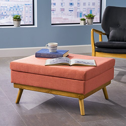 Great Deal Furniture 304580 Beryl | Mid Century Fabric Ottoman | in Coral, Natural