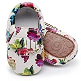 HONGTEYA Baby Moccasins With Rubber Sole - Girls