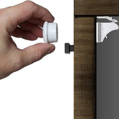 Safety Magnetic Childproof Lock Set By Mister Riv Baby- Set Of 8 Adhesive Mounted Magnetic Locks & 2 Keys- 2 BONUSES: Storage Box +Car Window Shade - Installation in 5min, No Tools/ Drilling Needed