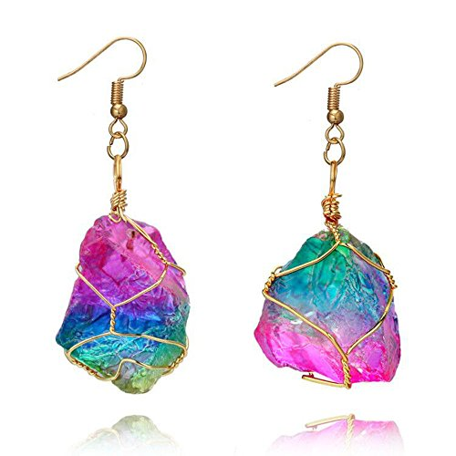 Hot Sale! Hongxin Women Natural Stone Drop Earrings Vintage Bohemia Geometric Shape Europe Rainbow Crystal Dangle Earrings Jewelry Gifts Gold Plated Quartz Pendant
