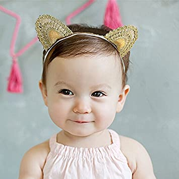 d37ff451117f Amazon.com   Headband Baby Girls Lace Cat Ears Headband Infant Hair ...