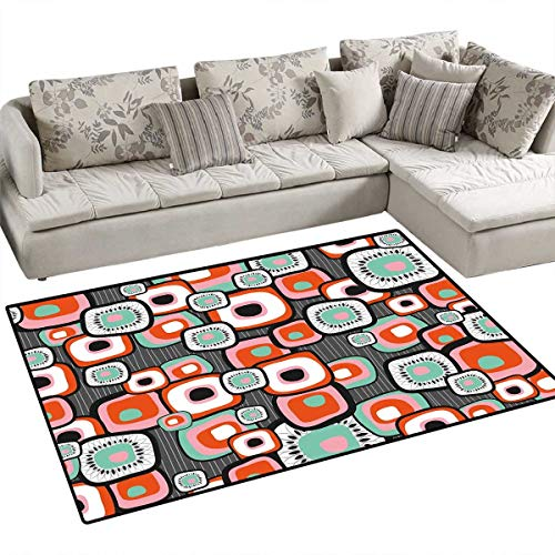 Country Girls Bedroom Rug Funky Square Shaped Lava Flowers with Abstract Inner Forms Print Door Mat Indoors Bathroom Mats Non Slip 4'x6' Mint Baby Pink Orange Grey