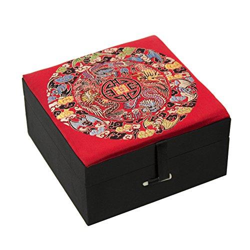 Oriental Furniture Red Silk Good Fortune Box