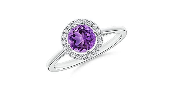 Angara Claw Amethyst and Diamond Halo Cathedral Ring in Platinum EKGaDy
