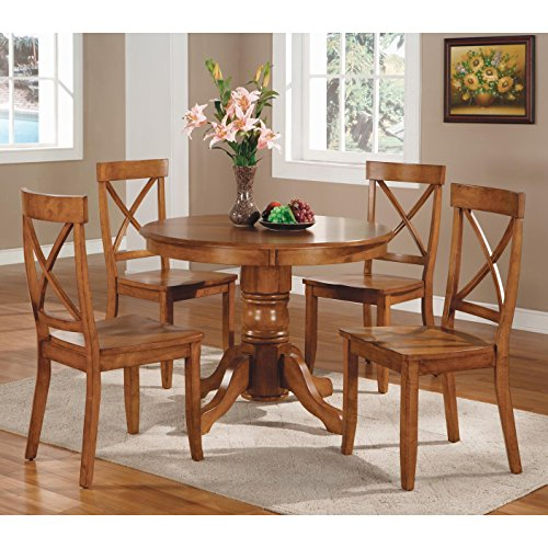 Contemporary 5-piece Dining Furniture Set Cottage Oak with Round Table and Four Chairs Home Dining Room and Kitchen Furniture for Breakfast Nook or Everyday Family Dinners from Solid Wood by Best Care LLC