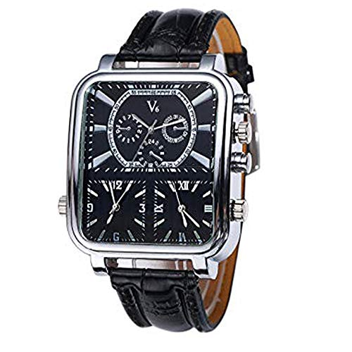 (V6 Men's Quartz Analog Watch Silver Square Case with 3 Time Zones and Black Band)