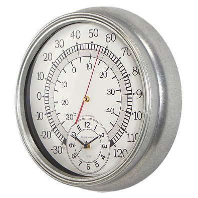Sterling & Noble Wall Clock with Built-in Thermometer Galvanized Metal