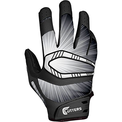 Football Glove Receiver Cutters (Cutters Gloves Youth REV Pro Receiver Glove (Pair), Black, Medium)
