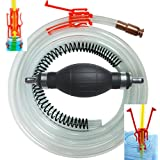 Siphon Pro XL - Largest Siphon for Water & Fuel (Gasoline or Diesel) w/ Largest Squeeze Bulb on the Market to Pump Liquid or Start Siphon - Potable Water 7' Hose - Jiggler Siphon Starter & Hose Weight