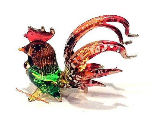 Handmade Mini Red Tail Chicken Rooster Art Glass Blown Bird Animal Figurine - Model Y2017