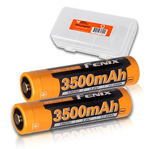 TWO PACK: Fenix ARB-L18 Button-Top 3500mAh 18650 Protected Rechargeable Batteries & Organizer - Designed for RC11, PD35, TK16, and other LED Flashlights