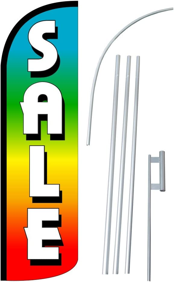 NEOPlex SALE 12-foot SUPER Swooper Feather Flag With Heavy-Duty 15-foot Pole and Ground Spike