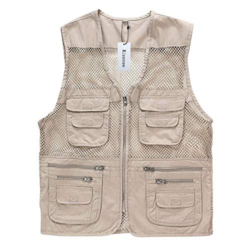 (Unisex Mesh Breathable Fishing Vest, Rizanee Multi-Pockets Photography Travel Hiking Waistcoat Jacket for Adults and Youth)