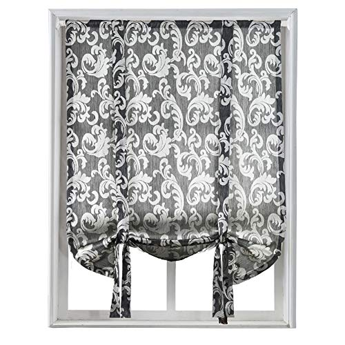 (NAPEARL Jacquard Tie Up Balloon Curtain for Small Winow (42