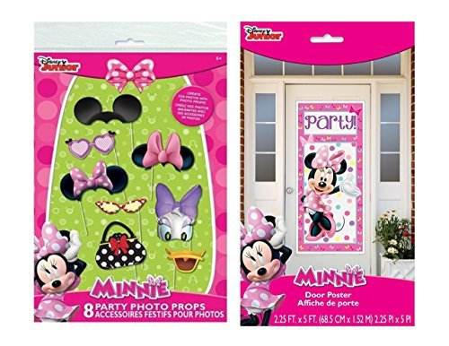 Minnie Mouse Photo Booth Props (8pc) and 1 Door Poster ()