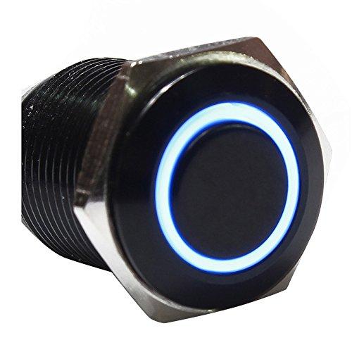 SODIAL 12V Commutateur de bouton poussoir oeil dange en metal LED Interrupteur a verrouillage lumineux de voiture 16mm Interrupteur noir + bleu R