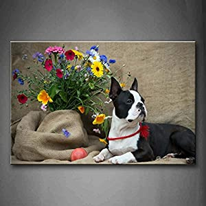 First Wall Art - French Bulldog Sit On Cloth Near A Branch Of Flower Wall Art Painting Pictures Print On Canvas Animal The Picture For Home Modern Decoration