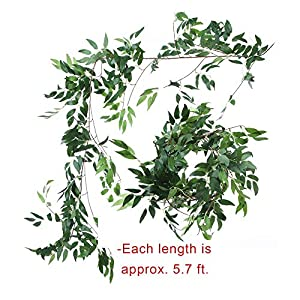 Felice Arts 2pcs 11.2 Feet Artificial Willow Leaves Vines Twigs Fake Silk Greenery Garland for Indoor Outdoor Wedding Decor Jungle Party 2