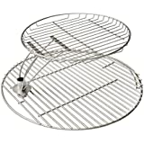 Onlyfire 18.5'' Barbecue Stainless Steel Grid Cooking Grate Combo Fits for Kamado Grill Likes Large Big Green Egg,Kamado Joe Classic,Pit Boss K22,Louisiana K22 and Other Ceramic Grill