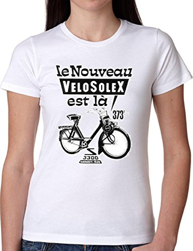 T SHIRT JODE GIRL GGG22 Z0760 VINTAGE BYCICLE NOVEU VELO FRENCH FUN FASHION COOL BIANCA - WHITE S