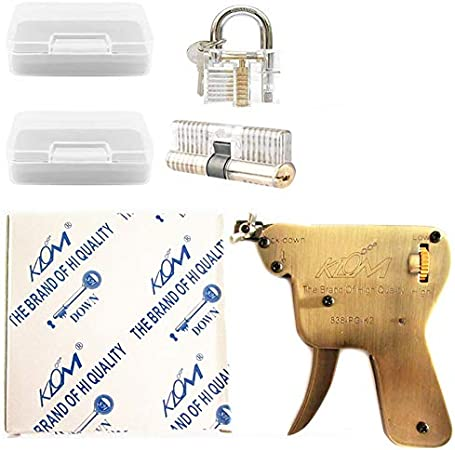 KLOM Pistola de ganzúas con 2 piezas de cierre transparente, juego de práctica para abrir cerraduras (abajo)