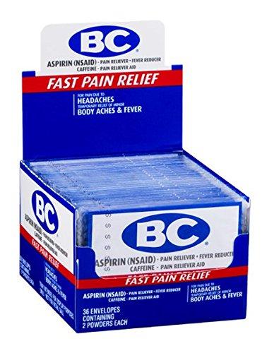 BC Aspirin Powder Headaches Body Aches & Fever 36 Envelopes Containing 2 Powders each