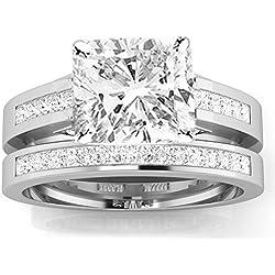 1.7 Cttw 14K White Gold Cushion Cut Channel Set Princess Cut Bridal Set Diamond Engagement Ring Wedding Band with a 1 Carat J-K Color I2 Clarity Center