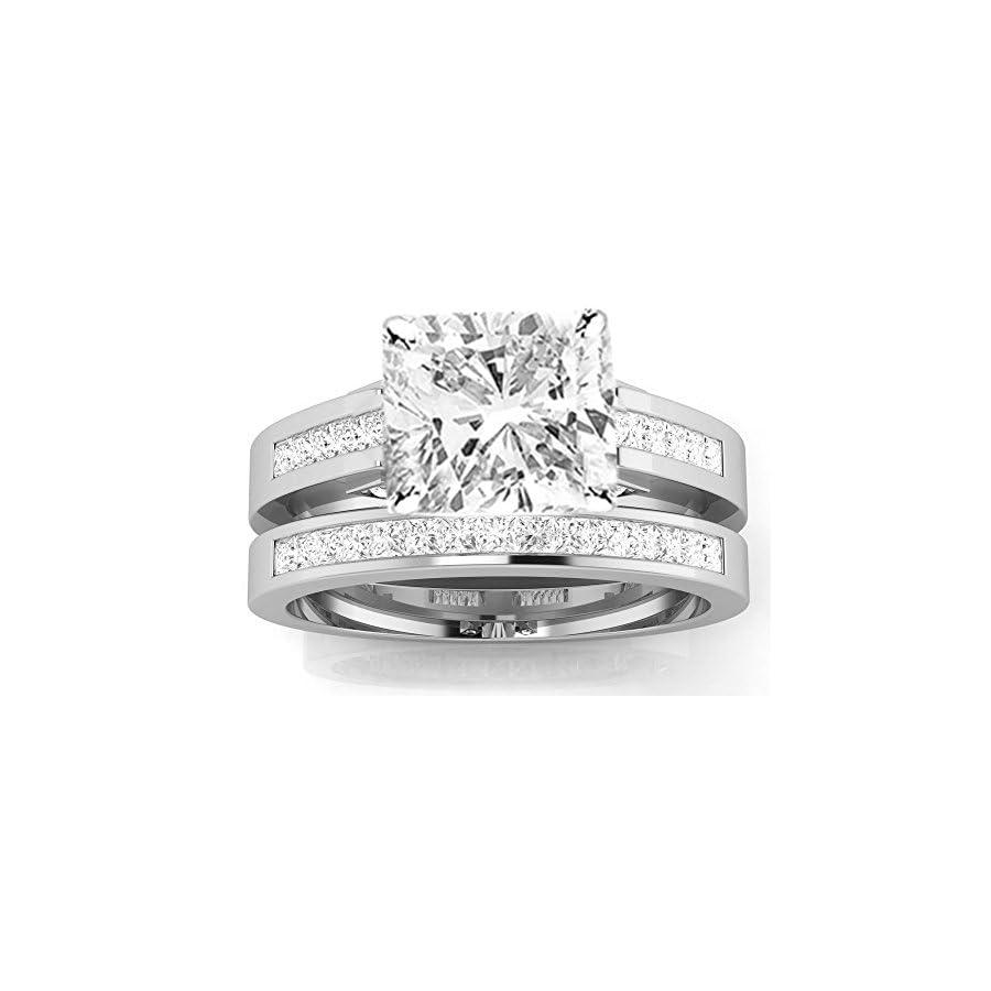 1.7 Cttw 14K White Gold Cushion Cut Channel Set Princess Cut Bridal Set Diamond Engagement Ring Wedding Band with a 1 Carat J K Color I2 Clarity Center