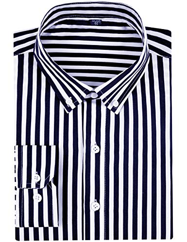 DOKKIA Mens Casual Business Sleeved Vertical Striped Slim Fit Dress Shirts