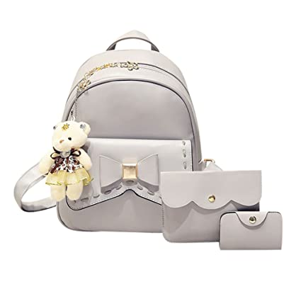 c87cc43eb560 Gowind-in Women's PU Leather Bowknot 3 Pieces Cute Backpack with ...